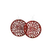Wooden Raindrop Circle earrings laser cut from sustainably harvested wood and Burnt Orange colored with water-based dye. Made in the USA.