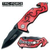 Tac-Force TF-686RB Red and Black Dragon Mini Pocket Knife