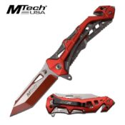 MTech MT-A997BRD Red and Silver Pocket Knife