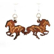 Wooden Running Horse earrings laser cut from sustainably harvested wood, colored cinnamon with water-based dye. Made in the USA.