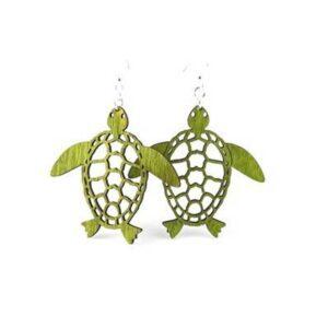 Laser Cut Sea Turtle Wooden Earrings