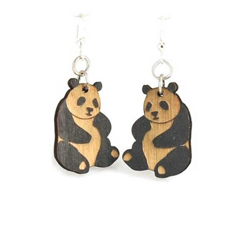 Wooden Small Panda Earrings Laser Cut From Sustainably Harvested Wood Black Satin Colored With Water