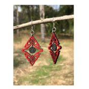 Wooden Tribal Charm earrings laser cut from sustainably harvested wood, cherry red colored with water-based dye. Made in the USA.