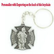 Front view of the Saint Florian Themed Fire Fighter Keychain.
