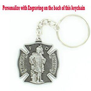 Fire Department Saint Florian Engravable Pewter Keychain