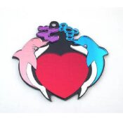 Dolphins With Heart Engravable Acrylic Keychain.