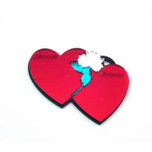 Double Red Heart with Rose Engravable Acrylic Keychain