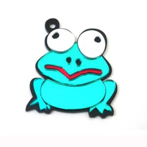 Frog with Crazy Eyes Engravable Acrylic Keychain