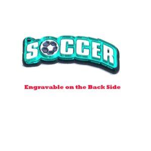 Soccer Word & Ball Engravable Acrylic Keychain