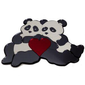 Pandas With Heart Engravable Wall Decor
