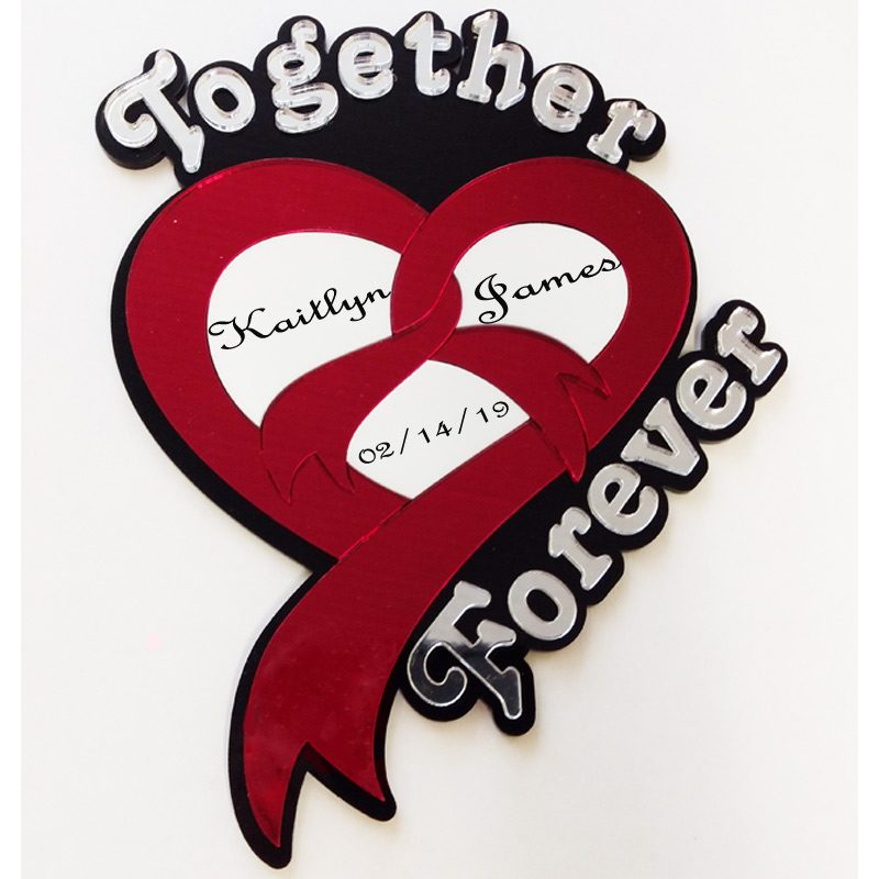 Heart Together Forever Engraved with Sample Engraving Wall Decor
