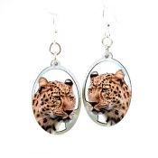 Full color wooden Cheetah Head earrings that are laser cut from sustainably harvested wood. Made in the USA.