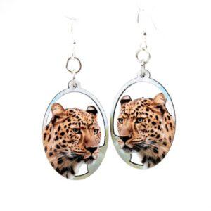Full Color Oval Cheetah Head Wooden Earrings