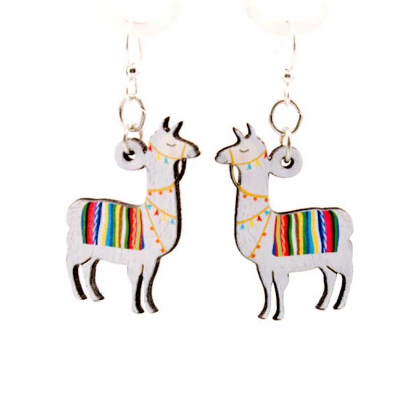Full Color Wooden Llama Earrings laser cut from sustainably harvested wood. Made in the USA.