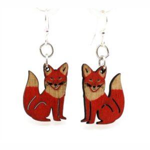 Laser Cut Red Fox Wooden Earrings