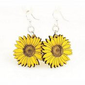 Wooden Sunflower earrings laser cut from sustainably harvested wood, Lemon Yellow colored with water-based dye. Made in the USA.