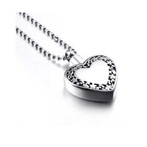 Stainless Steel Heart with Border Memory Urn Necklace