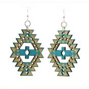 Navajo Indian inspired wooden earrings laser cut from sustainably harvested wood, with water-based Aquamarine dye. Made in the USA.