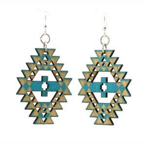 Laser Cut Navajo Indian Inspired Wooden Earrings