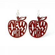 Wooden New York Big Apple earrings laser cut from sustainably harvested wood, Cherry Red colored with water-based dye. Made in the USA.
