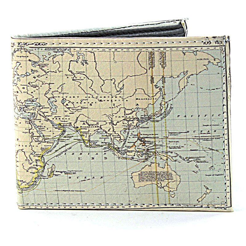 Billfold Men's Vegan Leather World Map SBVL 532