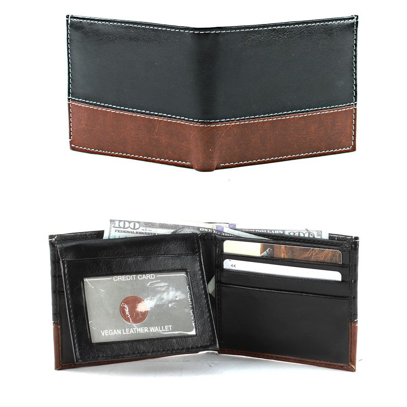 Cover And Inside View Men's 2 Tone Wallet SBVL 512BKBR
