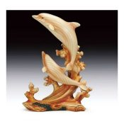 Dolphins 2 Leaping Out Of The Water Woodlike Figurine SBES782