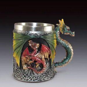 Dragon mug with dragon head and neck for handle