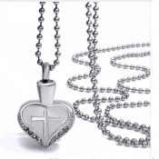 Heart Memory Cremains Urn Stainless Necklace SBU28HC