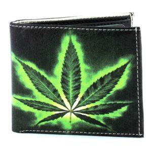 Vegan Leather Wallet With Green Leaf Design