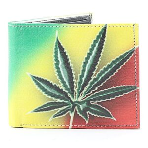 Leaf on Rasta Background Vegan Wallet