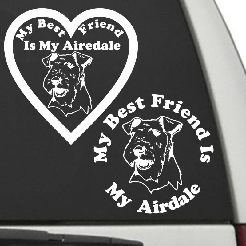 The Circle & Heart Shaped My Best Friend Is My Airedale dog decals are shown together on a car window.