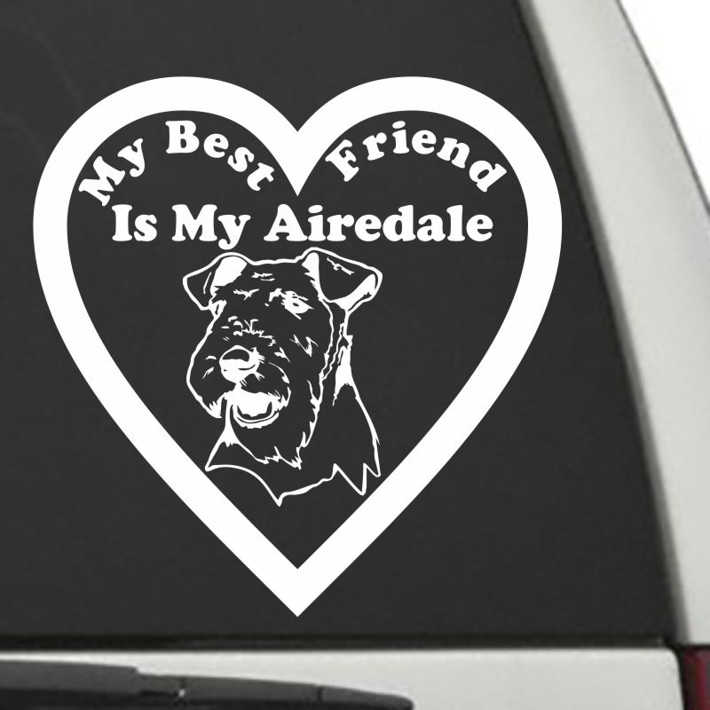 The Heart Shaped My Best Friend Is My Airedale dog decal shown on a car window.