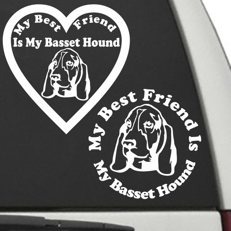The Circle & Heart Shaped My Best Friend Is My Basset Hound dog decals are shown together on a car window.