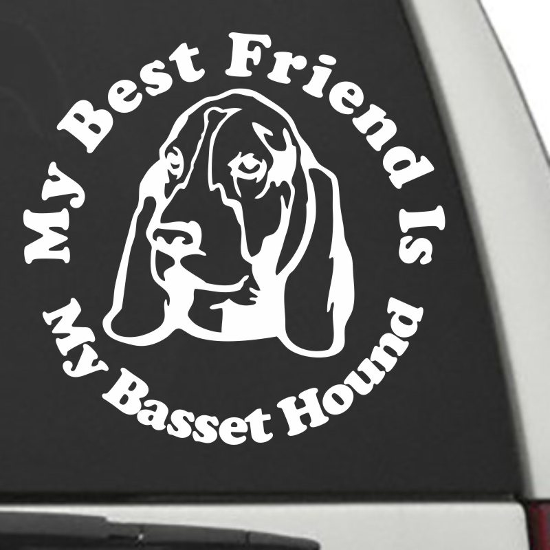 The Circle Shaped My Best Friend Is My Basset Hound dog decal shown on a car window.