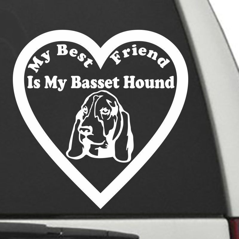 The Heart Shaped My Best Friend Is My Basset Hound dog decal shown on a car window.