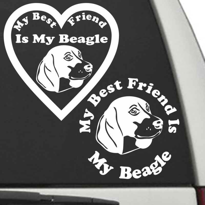 The Circle & Heart Shaped My Best Friend Is My Beagle dog decals are shown together on a car window.
