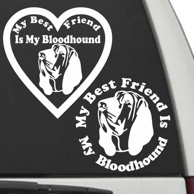 The Circle & Heart Shaped My Best Friend Is My Bloodhound dog decals are shown together on a car window.