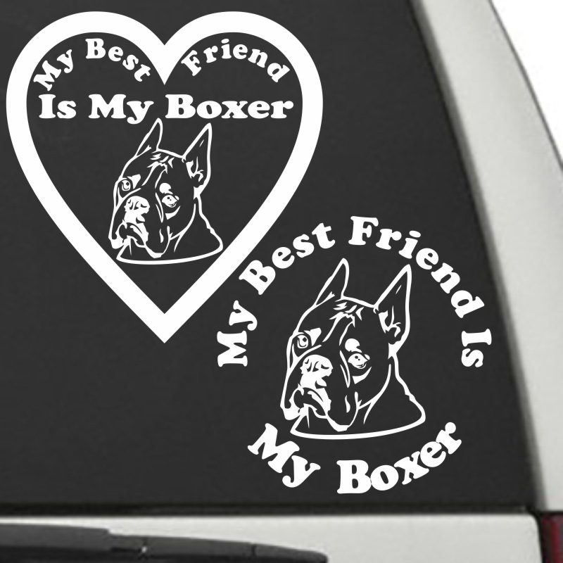 The Circle & Heart Shaped My Best Friend Is My Cropped Boxer dog decals are shown together on a car window.