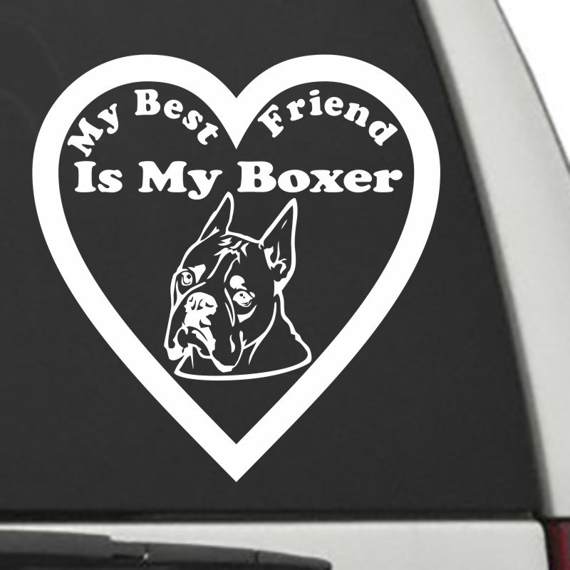 The Heart Shaped My Best Friend Is My Cropped Boxer dog decal shown on a car window.