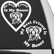 The Circle & Heart Shaped My Best Friend Is My Uncropped Boxer dog decals are shown together on a car window.