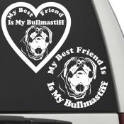 The Circle & Heart Shaped My Best Friend Is My Bullmastiff dog decals are shown together on a car window.
