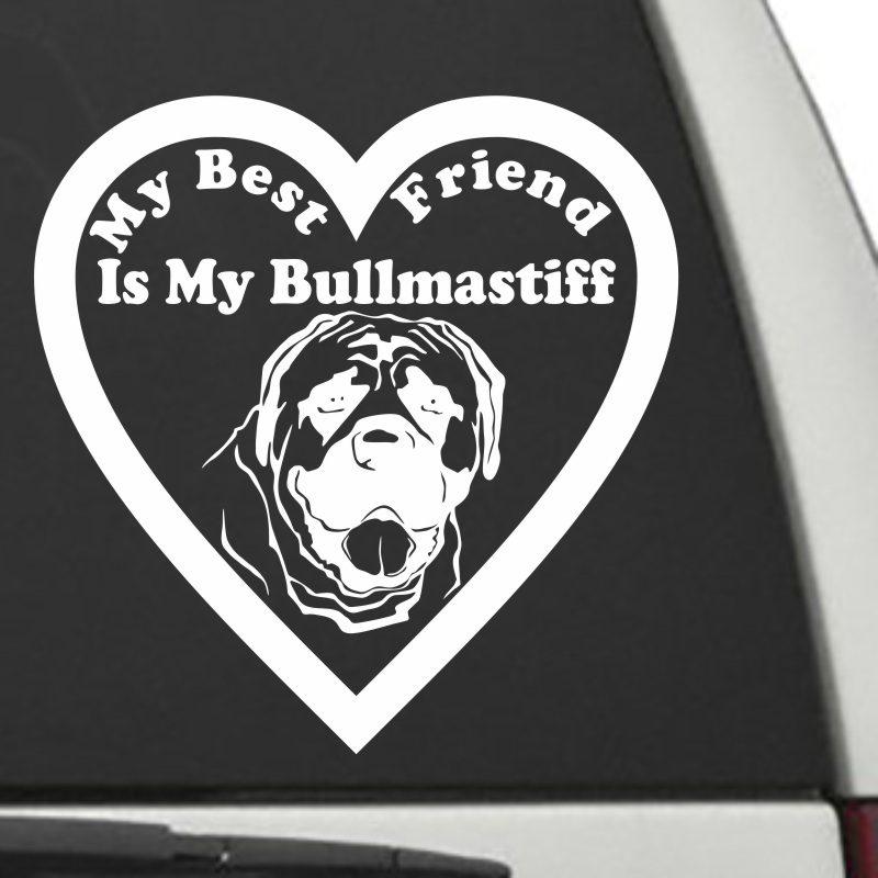 The Heart Shaped My Best Friend Is My Bullmastiff dog decal shown on a car window.