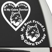 The Circle & Heart Shaped My Best Friend Is My Cairn Terrier dog decals are shown together on a car window.