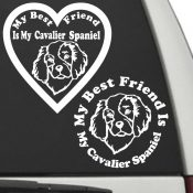 The Circle & Heart Shaped My Best Friend Is My Cavalier Spaniel dog decals are shown together on a car window.