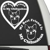 The Circle & Heart Shaped My Best Friend Is My Chihuahua dog decals are shown together on a car window.