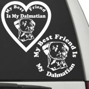 The Circle & Heart Shaped My Best Friend Is My Dalmatian dog decals are shown together on a car window.