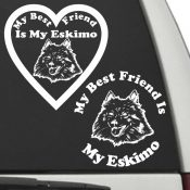 The Circle & Heart Shaped My Best Friend Is My Eskimo dog decals are shown together on a car window.