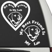 The Circle & Heart Shaped My Best Friend Is My Labrador Retriever dog decals are shown together on a car window.