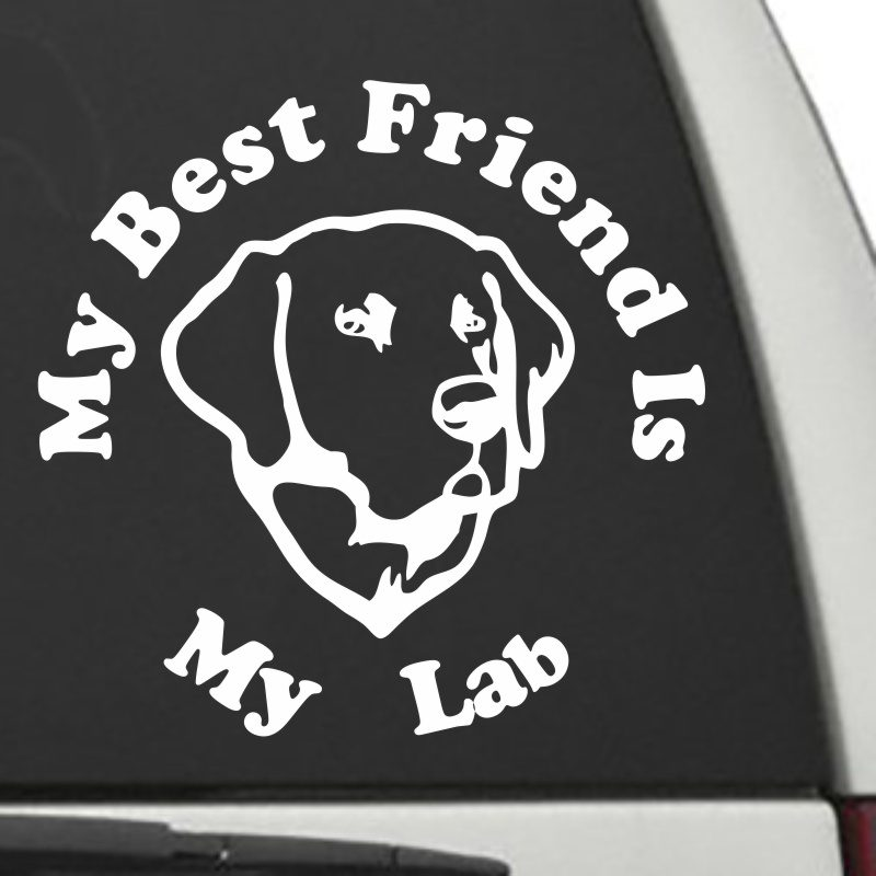 The Circle Shaped My Best Friend Is My Labrador dog decal shown on a car window.